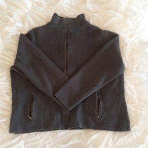 Dark Grey Knit Zip Up Cardigan